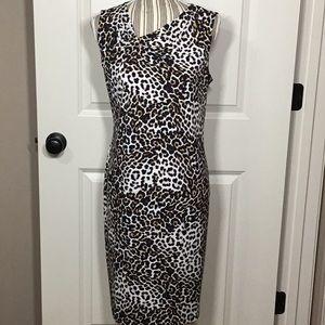 Chico's Leopard-Print Twisted Neckline Dress